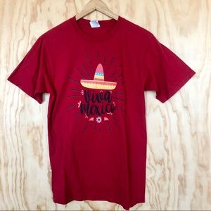 """Solid red t-shirt with """"Viva Mexico"""" graphic"""
